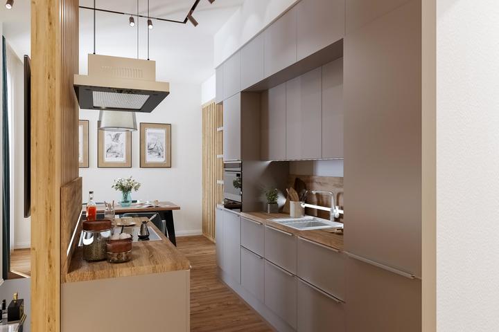 Кухонная мебель от пола до потолка