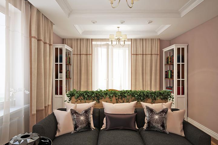 Интерьер гостиной с озеленением