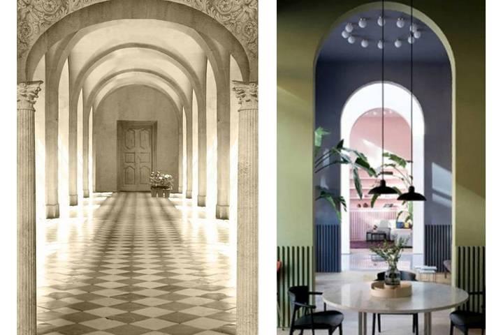 Декор с помощью обоев с арками