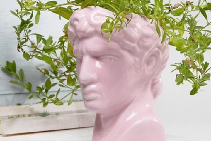 Розовое кашпо-бюст