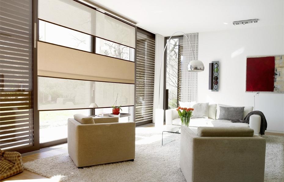 Бумажные шторы в гостиной