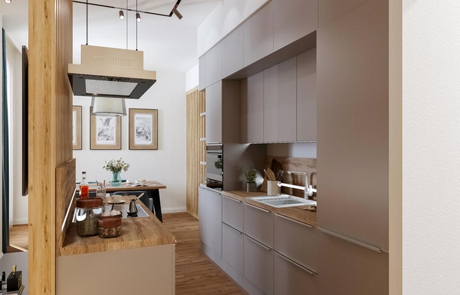 Объединенное пространство кухни и столовой