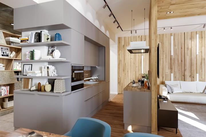 Перетекающее пространство гостиная-холл-столовая-кухня