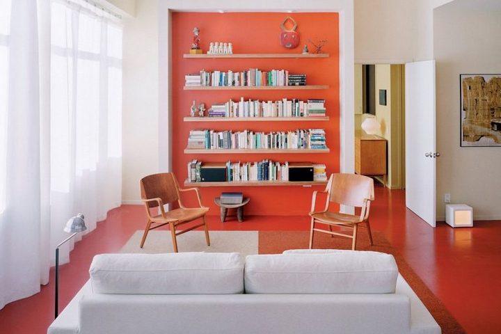 Коралловый цвет в декор мебели