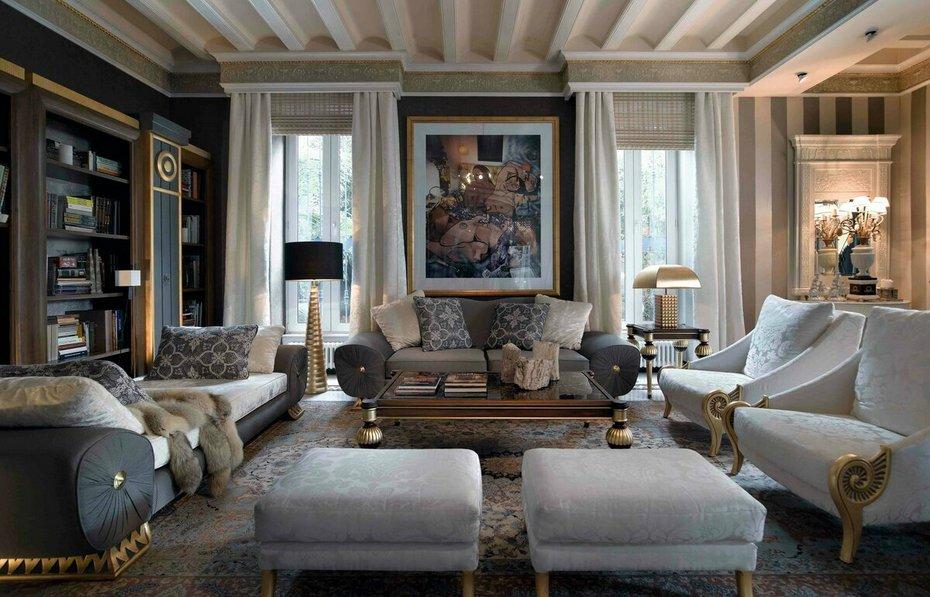 Стильный и современный интерьер гостиной