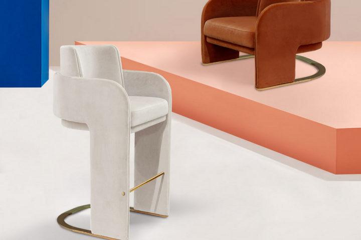 Барный стул в молочном цвете