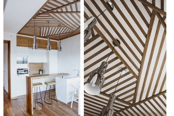 Деревянные рейки на потолке