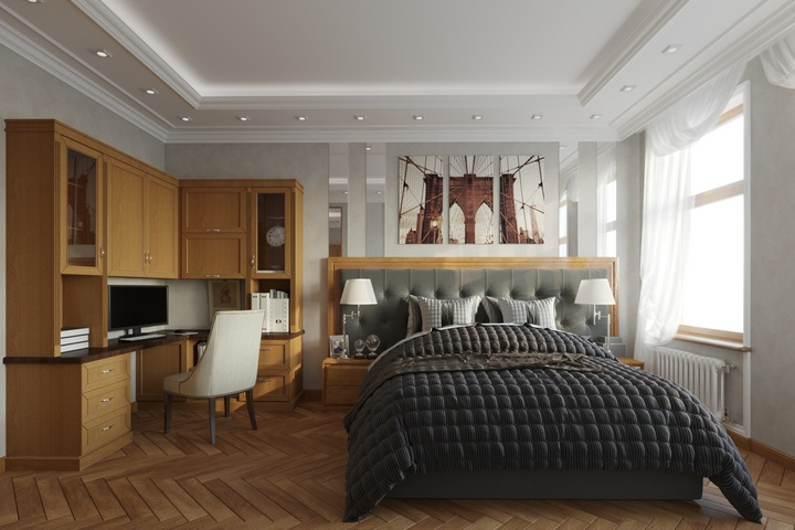 Спальня с обилием натурального дерева