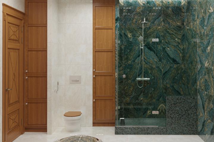 Ванная комната с деревом и керамогранитом