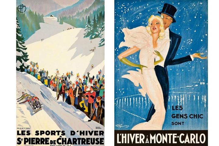 1 - Постер Les Sports d'Hiver à St.Pierre de Chartreuse, художник Роже Бродер, 1930; 2 - Постер L'Hiver à Monte-Carlo, художник Жан-Габриэль Домерг, 1937