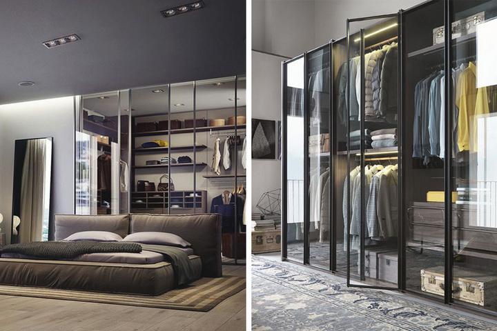 Спальня и гардеробная за стеклом