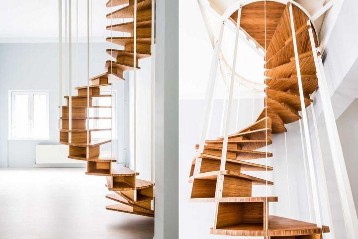 Винтовая лестница с вертикальным ограждением