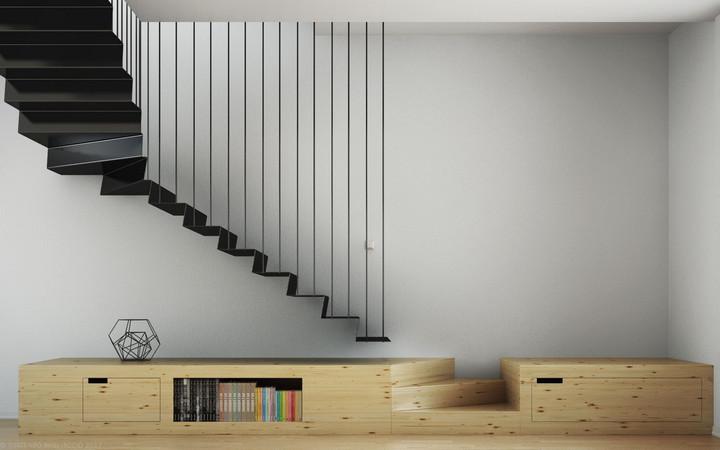 Лестница из гнутого металла