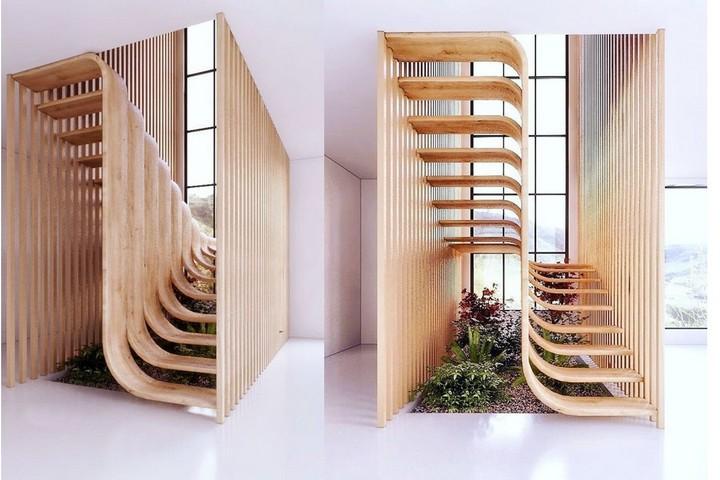 Лестница в комнате из деревянных реек