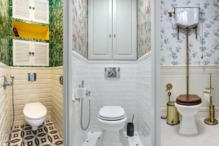 Варианты отделки туалета с обоями