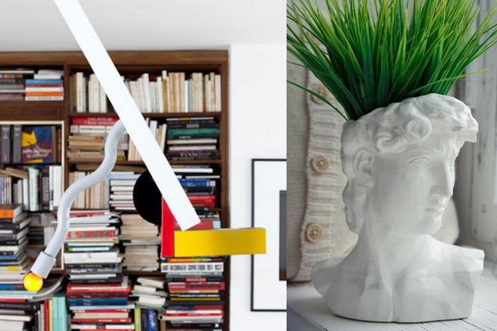 Необычный потолочный светильник и кашпо в форме головы Давида