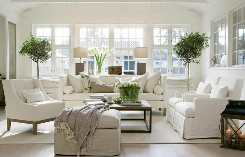 Белый и его оттенки в интерьере гостиной