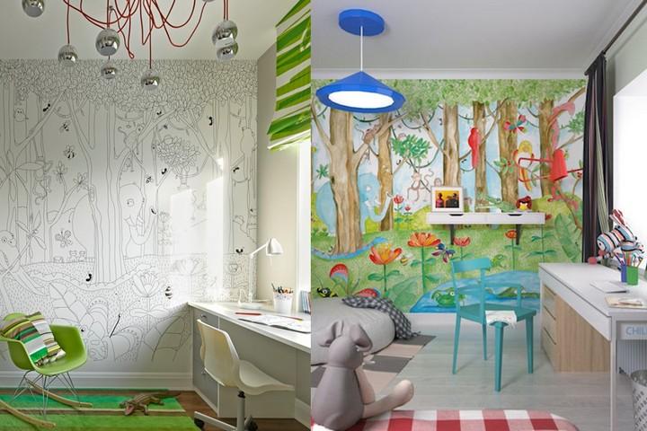 Обои-раскраски в детской комнате