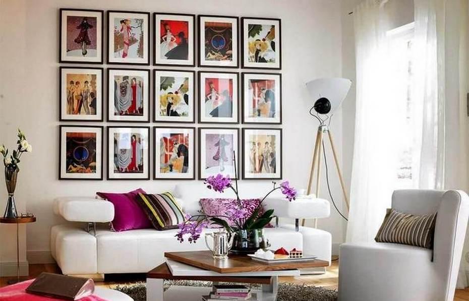 Коллаж картин в гостиной
