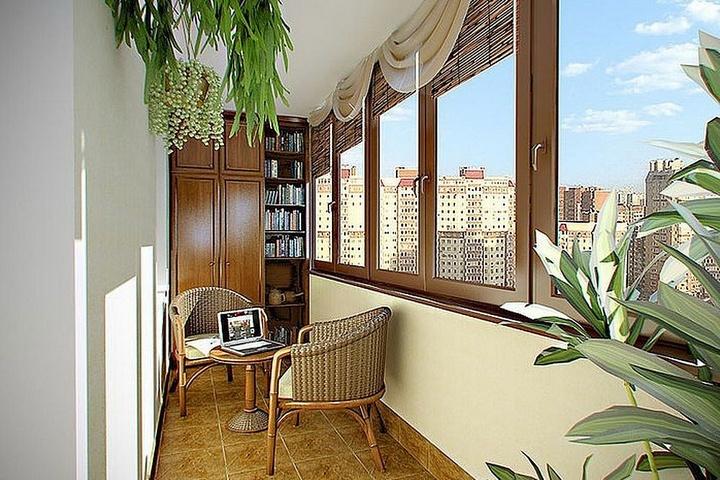 Терраса с мебелью из ротанга