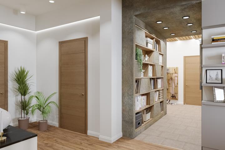 Оформление коридора бетоном со стеллажом