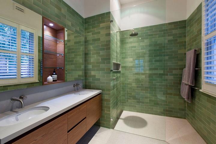 Матовая кирпичная плитка зеленого цвета
