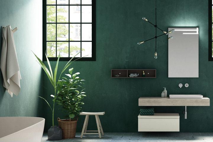 Штукатурка и зеленое окрашивание ванной комнаты