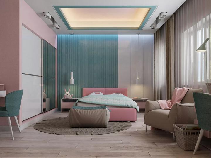 Розовые и голубые оттенки в спальне