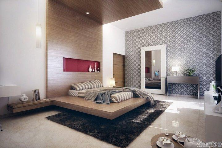 Подвесные панели и подиум в спальне