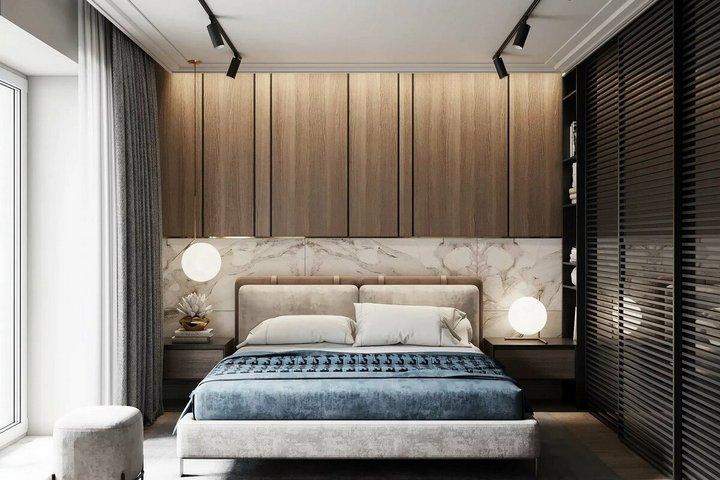 Встроенная мебель в спальне и кровать в нише