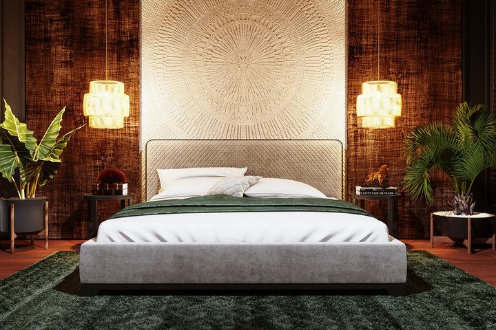 Спальня с этническим декоративным элементом