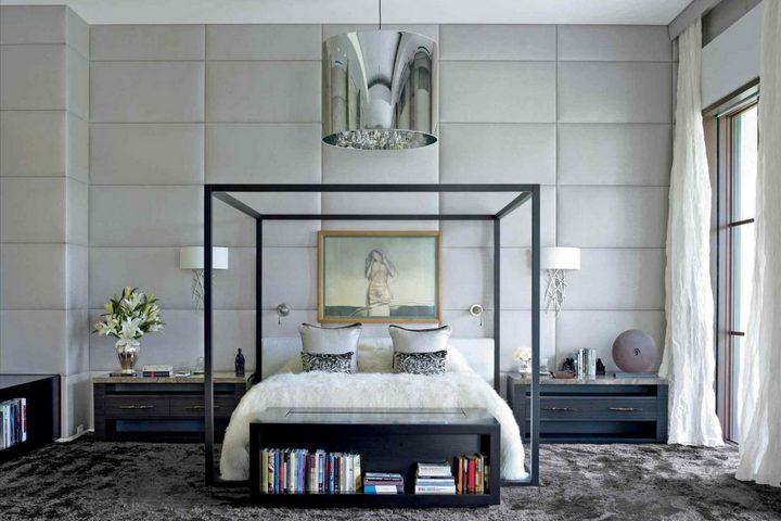 Спальня с геометричной кроватью