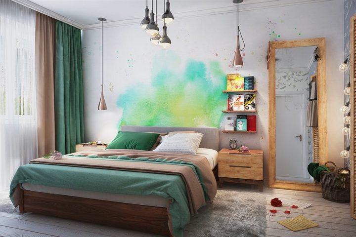 Спальня с яркими оттенками и деревянной мебелью