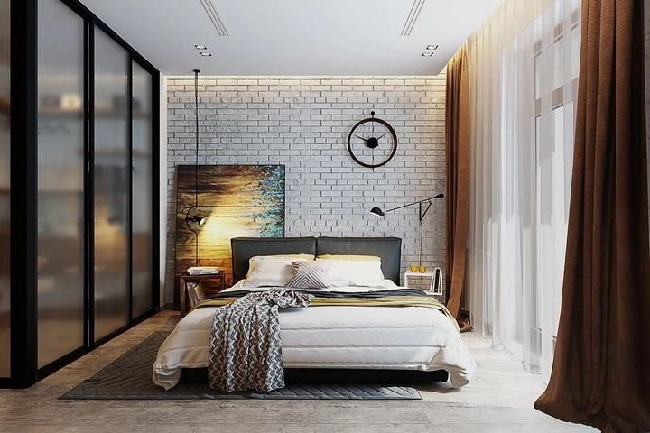 Светлые оттенки в спальне в стиле лофт