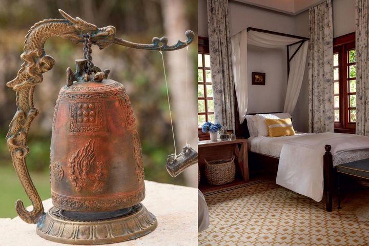 Декоративный предмет и слева - спальня