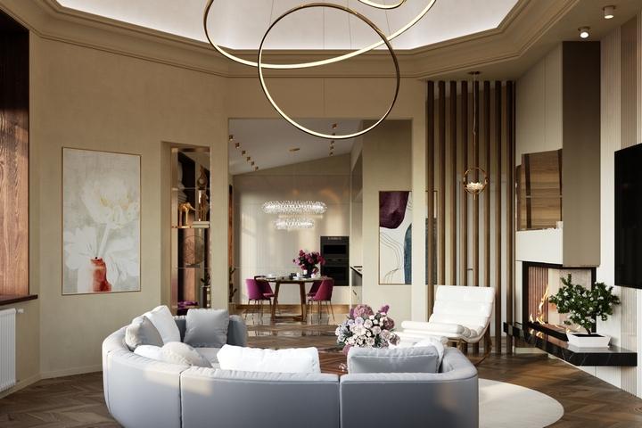 Интерьер гостиной со сложным дизайном