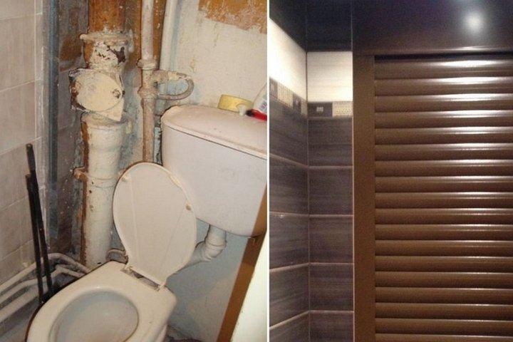 Слева - туалет с открытыми трубами, справа - короб и закрытые трубы