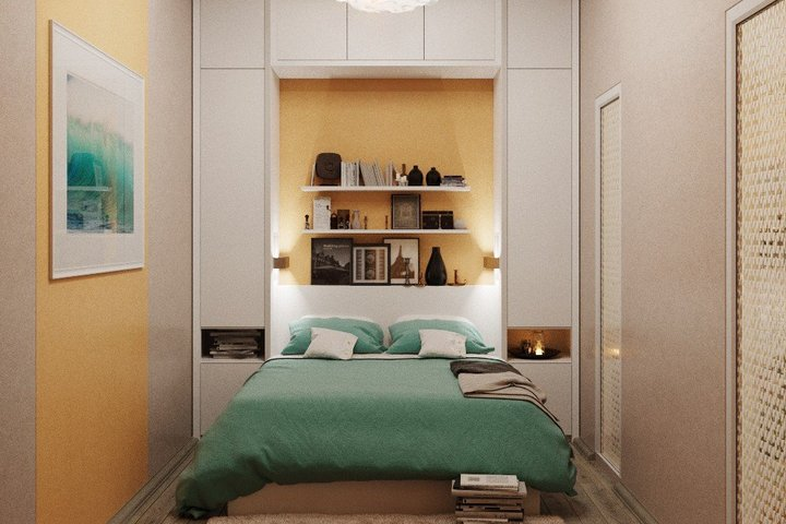 Пастельные оттенки в узкой спальне