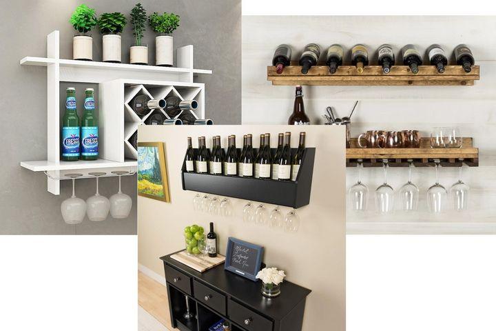 Настенные узкие полки для бутылок вина