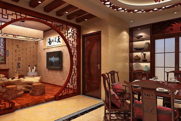 Китайский стиль в столовой-гостиной