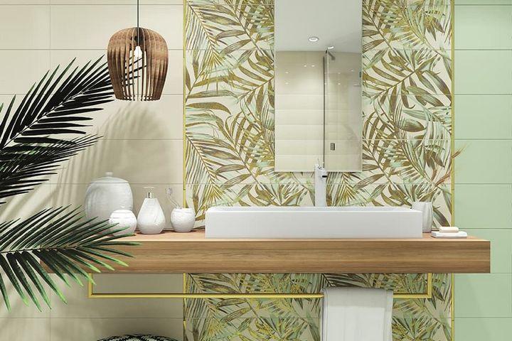 Тропический принт в ванной