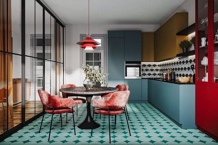 Плитка на полу в стиле 60х