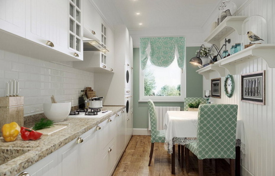 Узкая кухня с зоной столовой