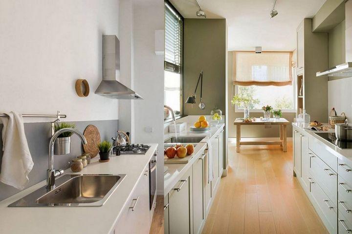 Варианты узкой кухни без подвесных конструкций