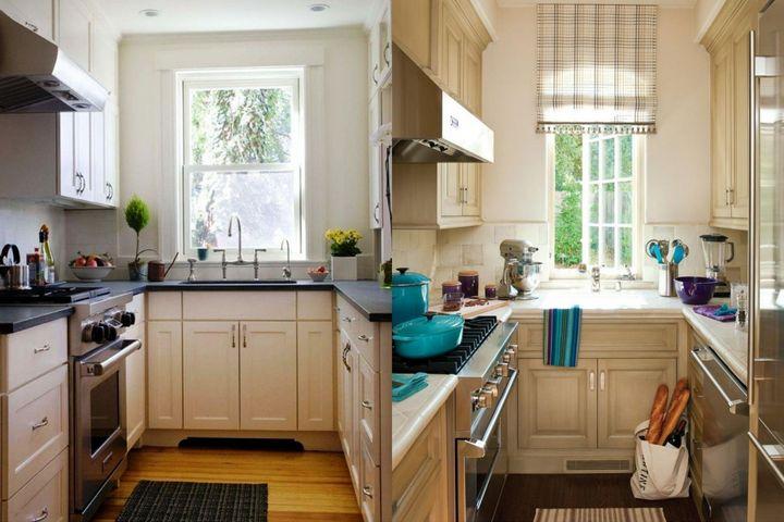 Кухни буквой П с задействованным окном