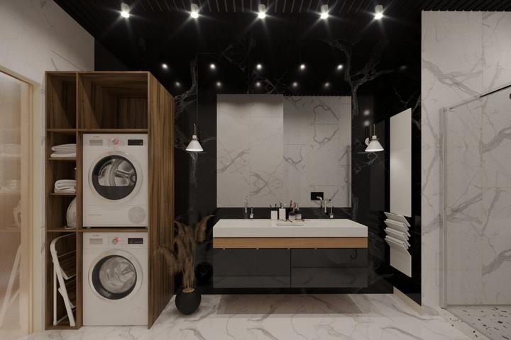 Контрастная отделка ванной комнаты