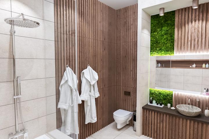 Эко-стиль в ванной с вертикальным озеленением