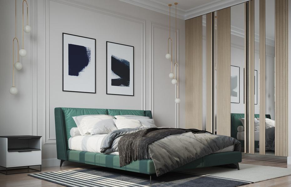 Спальня в базовом виде с дополнительным декором