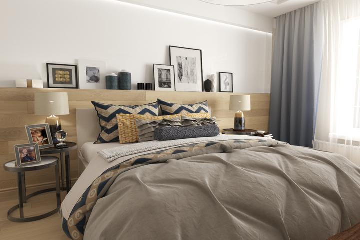 Асимметричное расположение декора в спальне