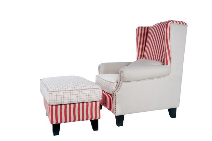 Мягкое кресло с пуфом Parris